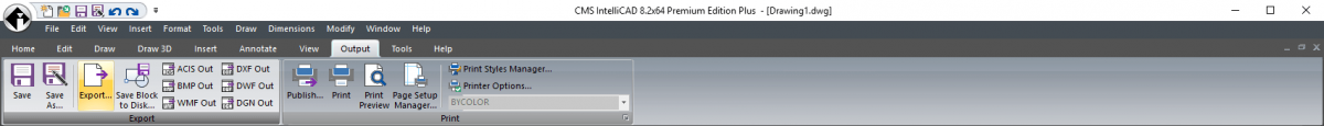 IntelliCAD Ribbon - Output